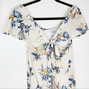 ASOS Dresses - ASOS Off White Floral Cut Out Dress Size 2